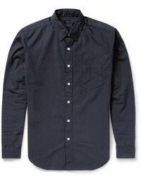 Chemise à manches longues á pois bleu marine et blanc J.Crew