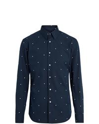 Chemise à manches longues á pois bleu marine Burberry