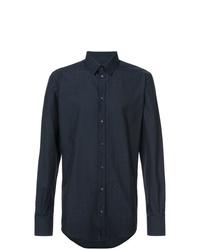Chemise à manches longues á pois bleu marine Dolce & Gabbana