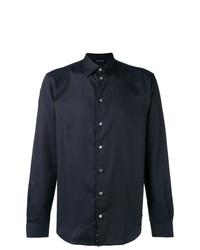 Chemise à manches longues á pois bleu marine Emporio Armani