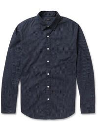 Chemise à manches longues á pois bleu marine J.Crew
