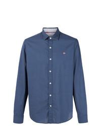 Chemise à manches longues á pois bleu marine Napapijri
