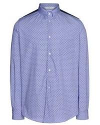 Chemise à manches longues á pois bleue