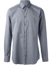 Chemise à manches longues á pois grise