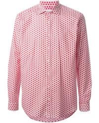 Chemise à manches longues á pois rouge et blanc
