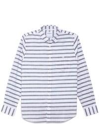 Chemise à manches longues à rayures horizontales blanc et bleu marine