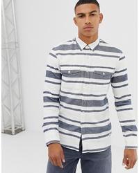 Chemise à manches longues à rayures horizontales blanc et bleu