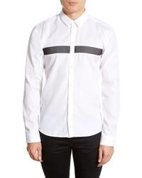 Chemise à manches longues à rayures horizontales blanche