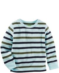 Chemise à manches longues à rayures horizontales bleu clair