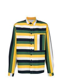 Chemise à manches longues à rayures horizontales multicolore