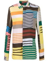 Chemise à manches longues à rayures horizontales multicolore Rick Owens