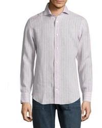 Chemise à manches longues à rayures verticales beige