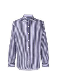 Chemise à manches longues à rayures verticales blanc et bleu marine Barba