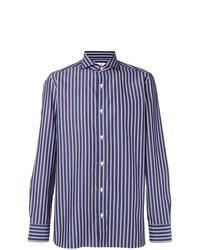 Chemise à manches longues à rayures verticales blanc et bleu marine Borrelli