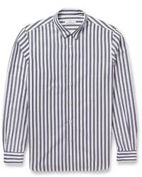 Chemise à manches longues à rayures verticales blanc et bleu marine
