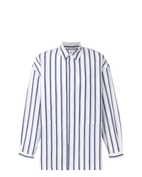 Chemise à manches longues à rayures verticales blanc et bleu marine E. Tautz