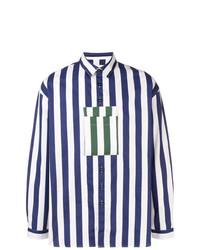 Chemise à manches longues à rayures verticales blanc et bleu marine Sunnei
