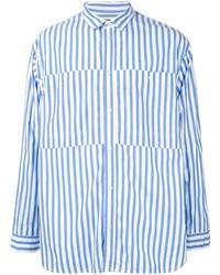Chemise à manches longues à rayures verticales blanc et bleu 08sircus