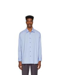 Chemise à manches longues à rayures verticales blanc et bleu Andersson Bell