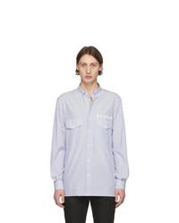 Chemise à manches longues à rayures verticales blanc et bleu Balmain