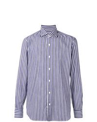 Chemise à manches longues à rayures verticales blanc et bleu Barba
