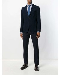 Chemise à manches longues à rayures verticales blanc et bleu Canali