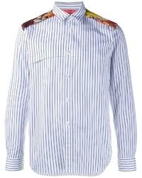 Chemise à manches longues à rayures verticales blanc et bleu Comme des Garcons