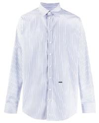 Chemise à manches longues à rayures verticales blanc et bleu DSQUARED2