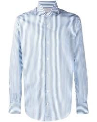 Chemise à manches longues à rayures verticales blanc et bleu Eleventy