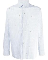 Chemise à manches longues à rayures verticales blanc et bleu Etro