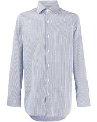 Chemise à manches longues à rayures verticales blanc et bleu Finamore 1925 Napoli