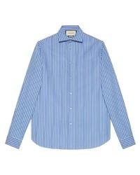 Chemise à manches longues à rayures verticales blanc et bleu Gucci