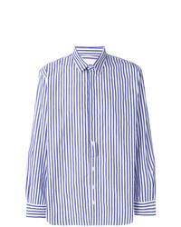 Chemise à manches longues à rayures verticales blanc et bleu Henrik Vibskov