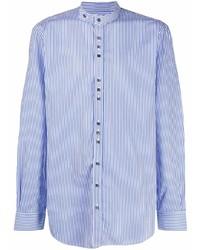 Chemise à manches longues à rayures verticales blanc et bleu Joseph
