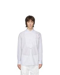 Chemise à manches longues à rayures verticales blanc et bleu Junya Watanabe