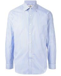 Chemise à manches longues à rayures verticales blanc et bleu Kent & Curwen
