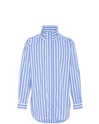 Chemise à manches longues à rayures verticales blanc et bleu Martine Rose