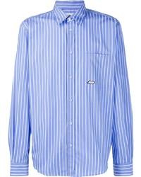 Chemise à manches longues à rayures verticales blanc et bleu MSGM