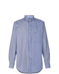 Chemise à manches longues à rayures verticales blanc et bleu Paul & Shark