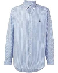 Chemise à manches longues à rayures verticales blanc et bleu Polo Ralph Lauren