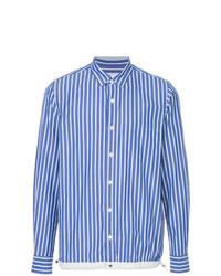 Chemise à manches longues à rayures verticales blanc et bleu Sacai