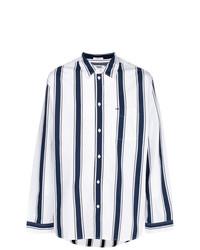 Chemise à manches longues à rayures verticales blanc et bleu Tommy Jeans