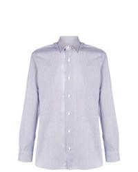 Chemise à manches longues à rayures verticales blanc et bleu Z Zegna