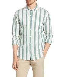 Chemise à manches longues à rayures verticales blanc et vert