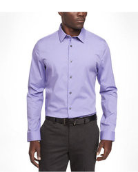 Chemise à manches longues à rayures verticales blanc et violet