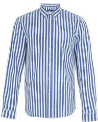 Chemise à manches longues à rayures verticales blanche et bleue