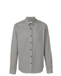 Chemise à manches longues à rayures verticales blanche et noire AMI Alexandre Mattiussi