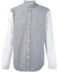 Chemise à manches longues à rayures verticales blanche et noire Ami