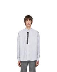 Chemise à manches longues à rayures verticales blanche et noire Givenchy