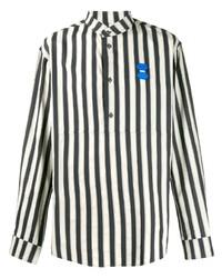 Chemise à manches longues à rayures verticales blanche et noire Off-White